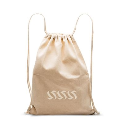 Plain cotton back pack with sliding rope handles, loops and eyelets