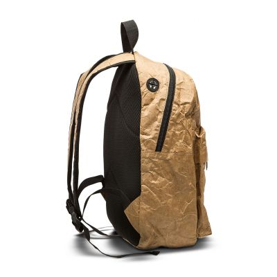 Paper back pack with pocket, earphones loop, zip and handle
