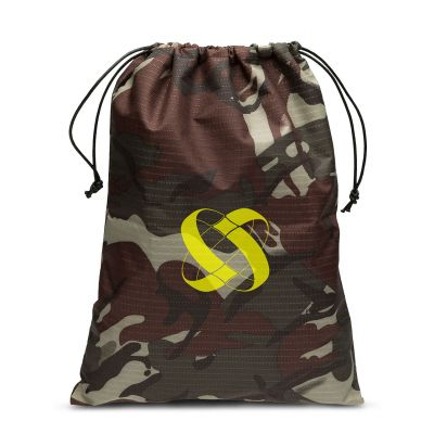 Camouflage nylon swimwear/shoe bag with drawstrings sliding from 2 sides + pocket