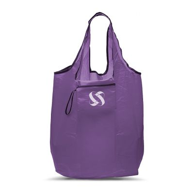 Nylon shopping bag with handles closable in a pocket