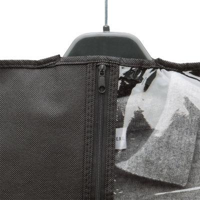 Non woven garment cover + see-through pvc + zip