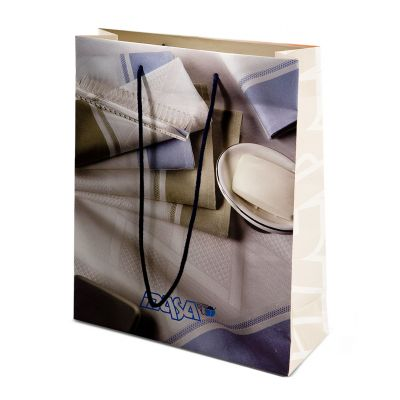 Carrier paper bag without lamination, rope handles and knots
