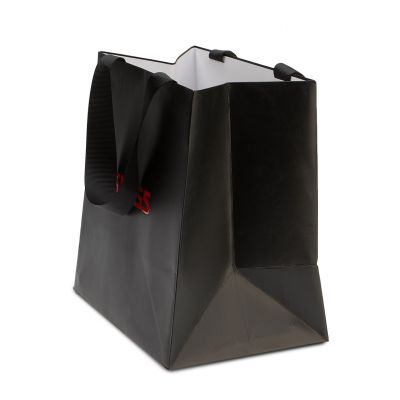 Paper bag with glued handles