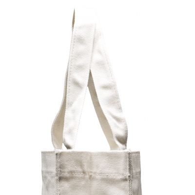 Canvas tote bag with 3 gussets and stitched handles