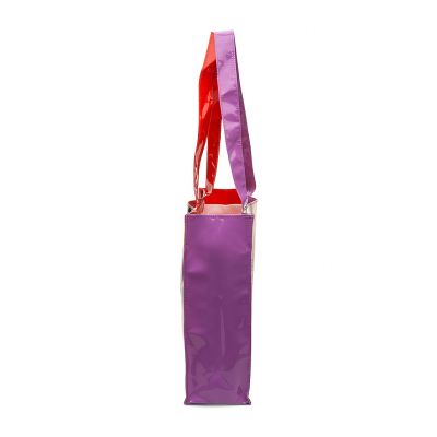 PVC tote bag stitched with gussets and shoulder handles