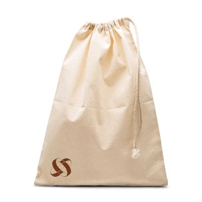 Natural plain cotton shoebag with drawstring sliding from 1 side