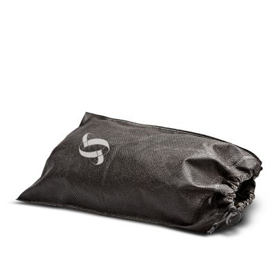 Heat sealed non woven shoebag with drawstring sliding from 1 side